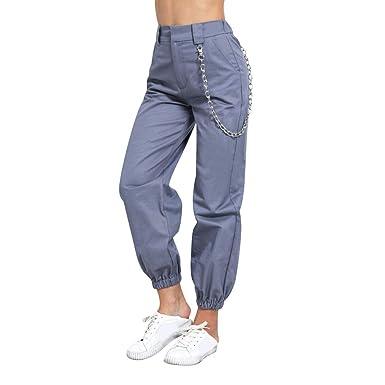 Landove Pantalon Con Cadena Y Bolsillos Mujer Hip Hop Cargo Pants Ropa Premama Ropa Para Dormir