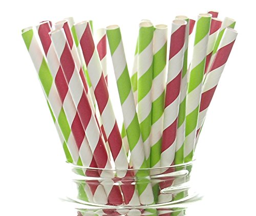Paper Cup Crafts For Christmas - Merry Christmas Straws, Red & Green Holiday Party Supplies (25 Pack) - North Pole Striped Straws, Santa Red & Elf Green Party Decorations, Striped Paper Drinking Straws / Crafts for Holiday Parties