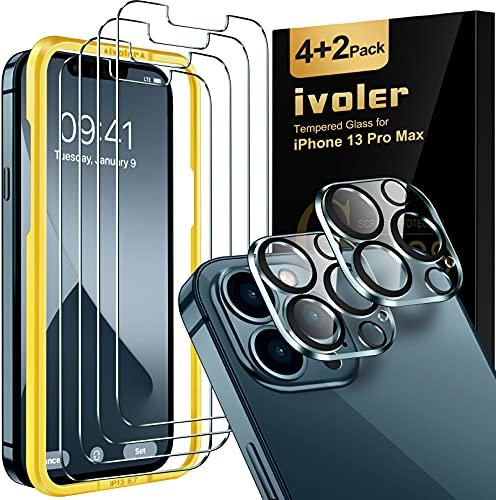 4 vidrios templados pantalla y 2 de camara iphone 13 pro max