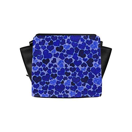 Jasonea Women Satchel Bag Hand Bag With Sparkling Hearts Blue Basdd160797