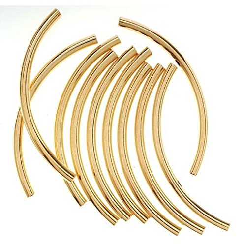 10pcs 14k Gold on Sterling Silver Sleek Curved Noodle Tube Beads 30mm x 2mm Tube (~1.6mm Hole) ss273 (2mm Cube Beads)