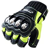 Motorcycle Fingerless Gloves,Dirt Bike Motocross Motorbike Power Sports Racing Gloves Steel Reinforced Knuckle (Green,L)