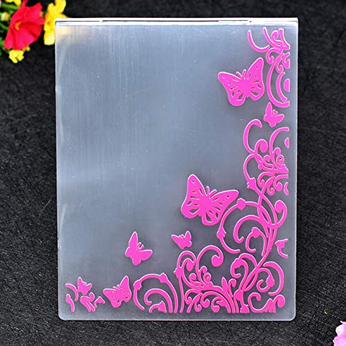 12x15cm Kwan Crafts Butterfly Flowers Corner Plastic Embossing Folders for Card Making Scrapbooking and Other Paper Crafts