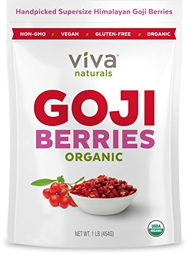Viva Naturals Premium Himalayan Organic Goji Berries, Noticeably Larger and Juicier, 1lb bag Sweet Organic Berry
