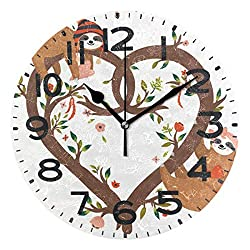 Naanle Cute Funny Sloths on Heart Shaped Tree Adorable Print Silent Round Wall Clock Decorative, 9.5 Inch Battery Operated Quartz Analog Quiet Desk Clock for Home,Office,School