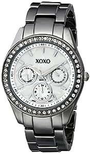 XOXO Women's Rhinestone Accent Gun Metal Bracelet Watch White XO5297