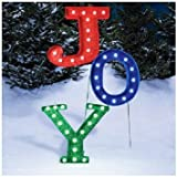 "BRAND NEW Colorful 46""H Ultra Bright Lighted Red Green Blue ""JOY"" Marquee Sign Lawn Sculpture Outdoor Christmas Decoration 1 YEAR WARRANTY"