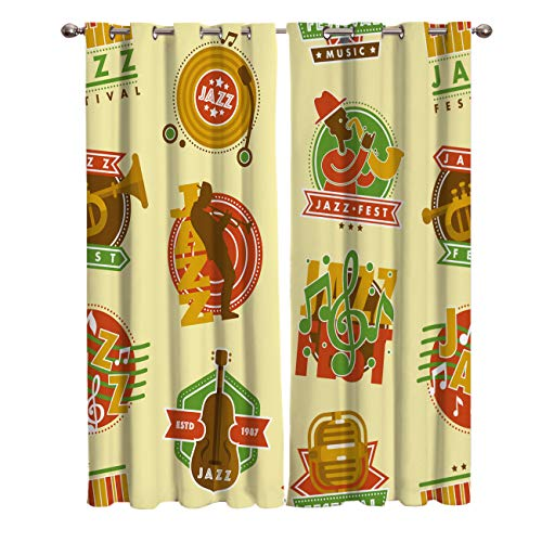 Edwiinsa Jazz Music Kitchen Blackout Curtains Window Drapes Treatment, 2 Panels Set for Kitchen Cafe Office, Music Festival with Various Instruments Saxophone Musician Microphone, 80W x 63L inch