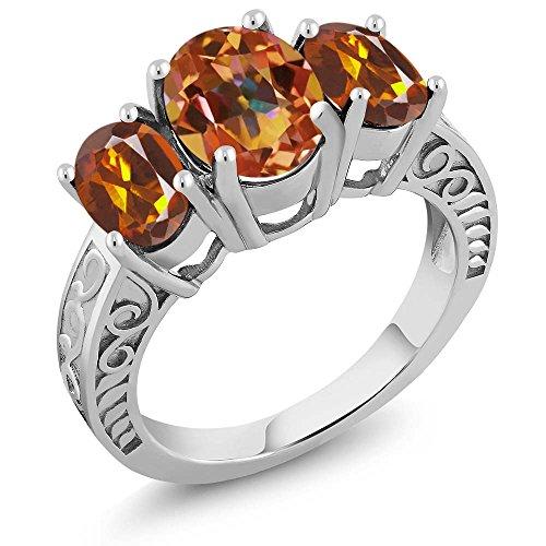 Madeira Citrine Ring (3.20 Ct Ecstasy Mystic Topaz Orange Red Madeira Citrine 925 Sterling Silver Ring)