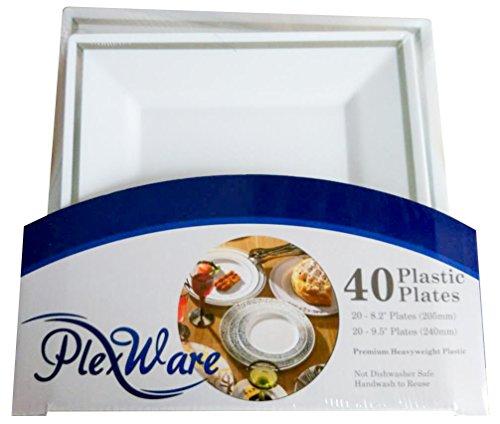 Plexware Silver Rim Square Plastic Plates 40 Piece Set (20-8.2 Inch, 20 - 9.5 Inch) White ()