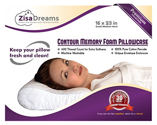 "Zisa Dreams Premium Collection 100% Soft Cotton Contour Neck Memory Foam Pillowcase w/ Envelope Style Closure - Small/Medium, 16x23"" | White (Small Foam Memory)"