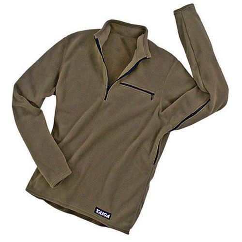 """TAIGA Men's Polartec Microfleece SPORT Long-sleeved Zip Sports Shirt, Olive, MADE IN CANADA, Small (chest: 37"""")"""