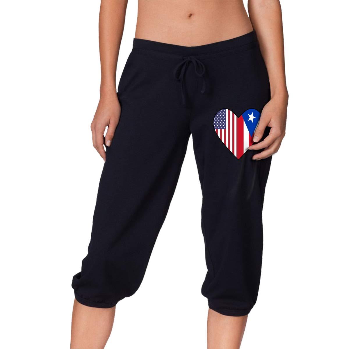 Half Puerto Rico Flag Half USA Flag Love Heart Womens Denim Capri Pants Workout Beam Trousers Black