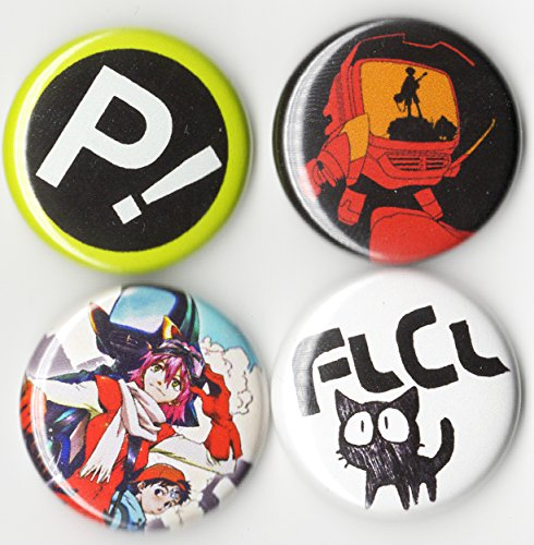 (FLCL BUTTON SET 4 PCS - ANIME FOOLY COOLY - 1 INCH PIN BACK)