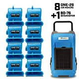 BlueDri Resto Pack 1, 8X One-29 Air Movers Carpet Dryer Blower Floor Fan & 1x BD-76 Pint Commercial Dehumidifier, Blue