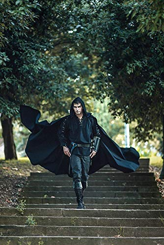 Black cotton velvet long cloak with hood, medieval elven fantasy costume unisex