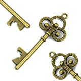 Makhry 50pcs Vintage Skeleton Key Bottle Openers Beer Partners Place Card Keys Wedding Party Favor For Anniversary Graduation Party (Antique Bronze)