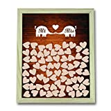 Susie85Electra Love Elephant Mr and Mrs Wedding Guest Book,Vintage Rustic Wedding Guest Book Top Heart Drop Box,Wood Frame Guestbook Wedding 40x50cm