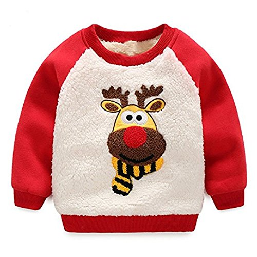 (Baby Boys Girls Toddler Lovely Christmas Lambswool Thick Winter Warm Sweatshirt Pullover (3-4 Years, Red))