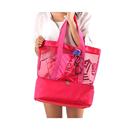 69adf2b62888 Mesh Beach Tote Bag Insulated Picnic Bags with Detachable Cooler Thermal  Compartment,Rose Red