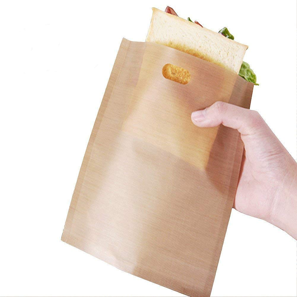 Set of 15 Reusable Toaster Bags Non Stick Heat Resistant FDA Approved Easy To Clean Perfect For Sandwiches Pastries Pizza Slices Chicken Nuggets Fish Vegetables Panini & Garlic Toast