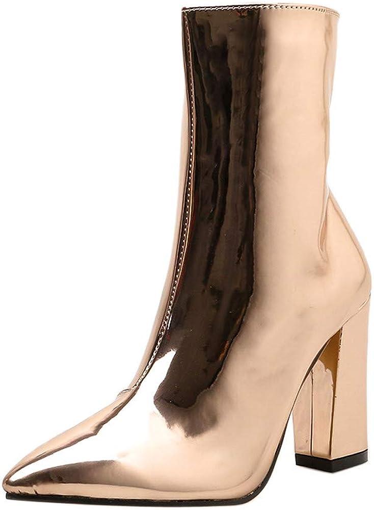 Rawdah Botas Mujer Invierno Botas de Mujer Zapatos Botas Cortas con Punta Gruesa de Cuero Brillante Botas Martin Tacones con Cremallera Lateral para Mujeres Zapatos Mujer Plataforma