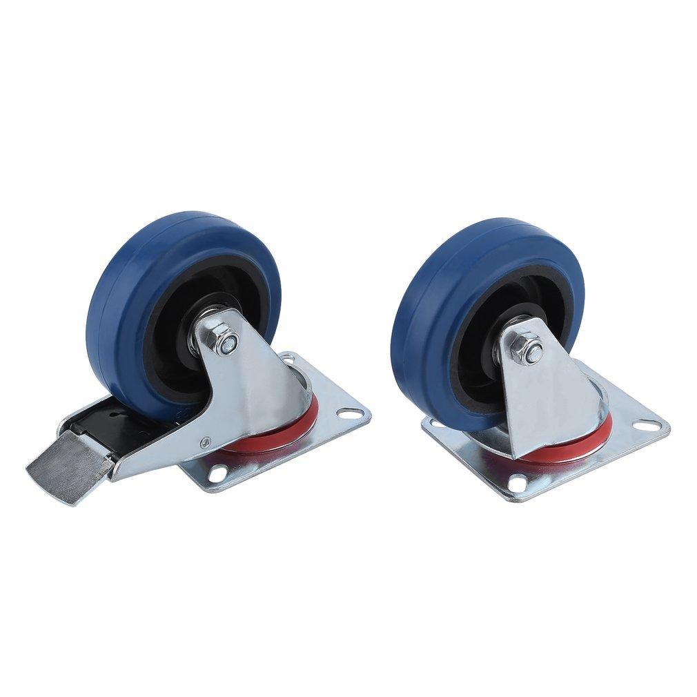 Homgrace Juego de 4 ruedas giratorias para muebles di/ámetro de rueda 100MM 2 sin freno 2 con freno carga de 160 kg ruedas para transporte, 100mm