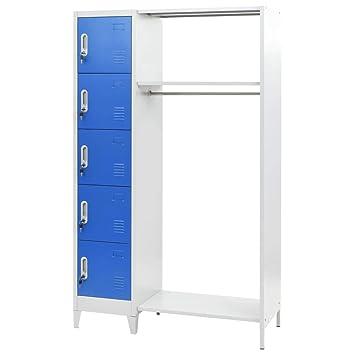 Festnight Taquillas Vestuario Metalicas con 5 Compartimentos y 1 Perchero, Azul y Gris, 110x50x180 cm