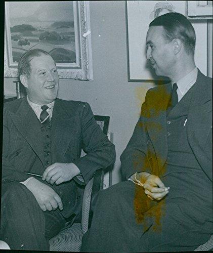 Vintage photo of The Norwegian publishers JW Cappelen and Henrik Groth visited Sweden to speak about the new book 'Norwegian konger and dronninger gjennom 1000 years'.