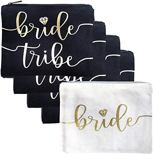 Bride Tribe Makeup Bags - Bridesmaid Favor for Bachelorette Party, Bridal Shower, Wedding. Cosmetic Toiletry Bag, Wedding Survival Kit, Hangover Kit, Keepsake (4+1pc Bride Tribe + Bride, Black & Gold)