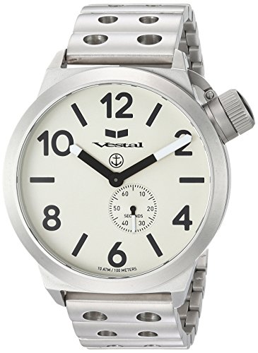 Vestal 'Canteen Metal' Quartz Stainless Steel Casual Watch, Color Silver-Toned (Model: CNT453M05.DSVM)