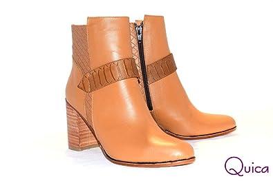 Amazon.com | Quica Botineta Vestir Cuero Suela Taco Mujer ...