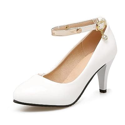 Aisun Women's Buckled Dressy Almond Toe Low Cut Stiletto Kitten Heels Ankle Strap Pumps Shoes