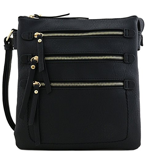 - Double Compartment Triple Front Pocket Zippers Crossbody BagBlack
