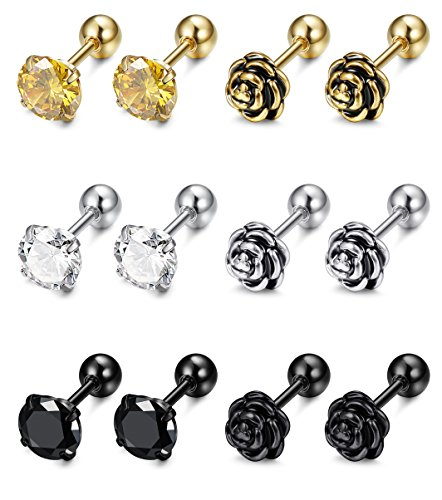 FIBO STEEL 6 Pairs 16G Stainless Steel Flower Cartilage Stud Earrings for Men Women Helix tragus Daith Cartilage Piercing Jewelry (Earrings Mens Jewelry)