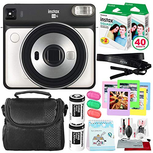 Fujifilm instax Square SQ6 Instant Film Camera (Pearl White) + 40 Sheet Square Instant Film + Case + Deluxe Bundle (USA - Digital Pearl Camera