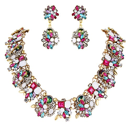BriLove Statement Necklace Earrings Set for Women Tribal Ethnic Crystal Mix-Shape Cluster Statement Necklace Dangle Earrings Jewelry Set Colorful Multicolor Antique-Gold-Toned