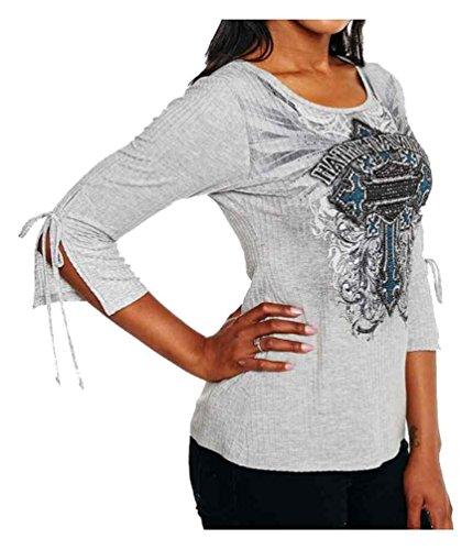 Ladies Scoop Neck Rhinestone Tee (Harley-Davidson Women's screed Embellished 3/4 Sleeve Scoop Neck Top, Gray (XL))