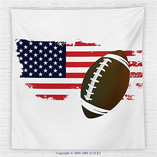 59 x 59 Inches Sports Decor Fleece Throw Blanket American Football Tradition Halftone Pattern of USA Flag Nation Tradition Blanket