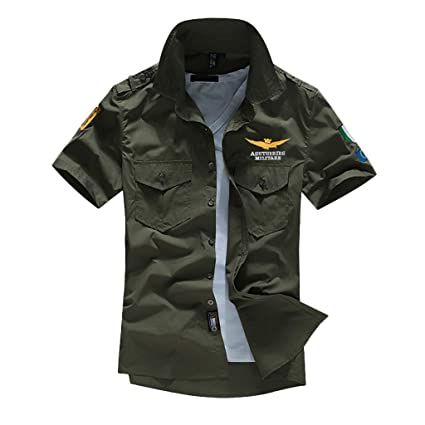 df3867eb293 Amazon.com : Nadition Men's Fashion Embroidery Military Work T-Shirt Summer  Pocket Short Sleeve Button Down T-Shirt Tops : Sports & Outdoors