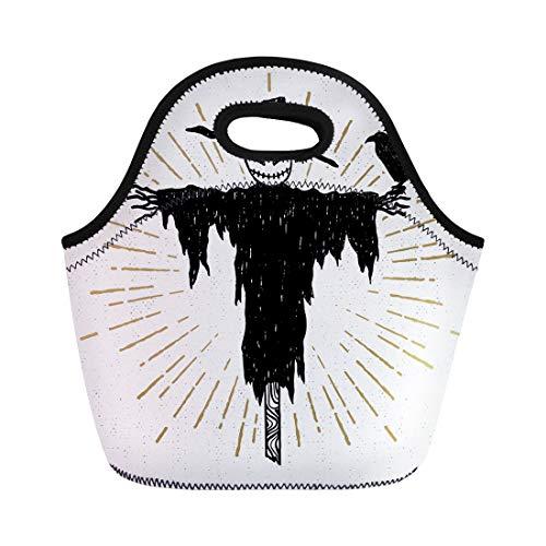 Semtomn Lunch Bags Creepy Black Badge Halloween Scarecrow White Burst Drawing Drawn Neoprene Lunch Bag Lunchbox Tote Bag Portable Picnic Bag Cooler Bag -