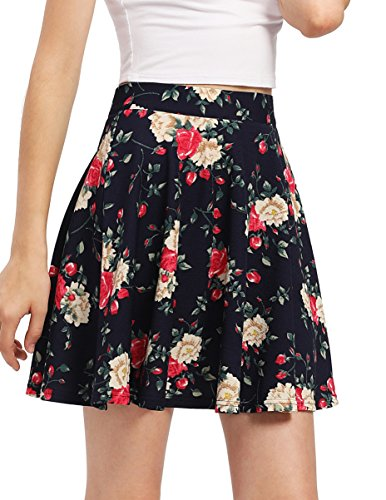 - SheIn Women's Basic Solid Scallop Hem Flared Mini Skater Skirt XX-Large Floral Black