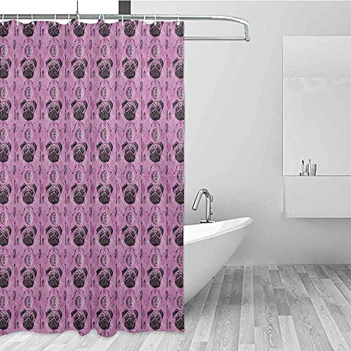 SONGDAYONE Waterproof Shower Curtain Dog Boho Style Complex Tribal Elements Traditional Motifs All Seeing Eye Arrow and Pug Draped Design Lavender Violet W72 xL79