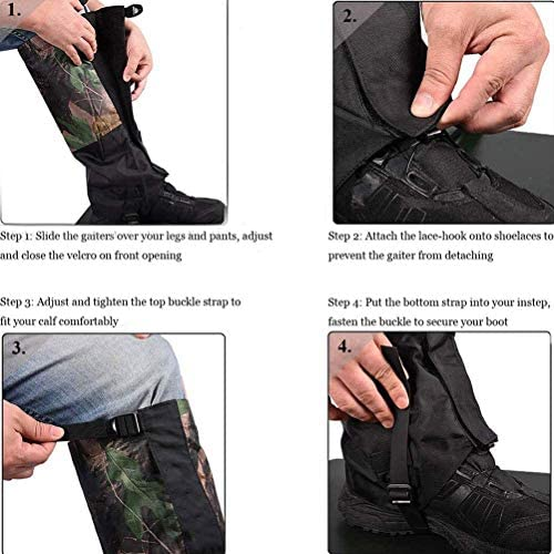 GzxLaY Outdoor Leg Gaiters, Waterproof, Breathable,500D Anti-Tear Oxford Fabric, for Hiking Climbing Hunting Snow Ski Boot Gaiters Guard Legging Leg Cover Wraps