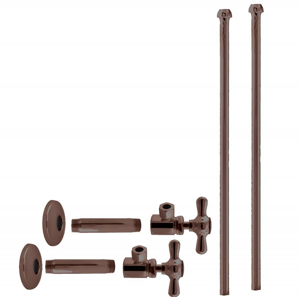 Westbrass D103KBNX-12 Faucet Kit 1/2'' Ips x 3/8'' OD x 20'' Bullnose, Oil Rubbed Bronze
