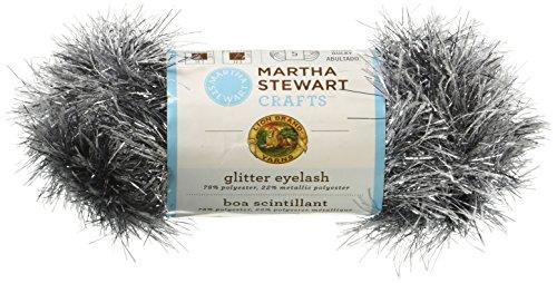 Lion Brand Yarn 5800-549 Martha Stewart Glitter Eyelash Yarn, Obsidian
