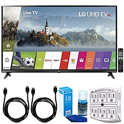 "LG 65UJ6300 - 65"" Super UHD 4K HDR Smart LED TV (2017 Model) w/ Accessories Bundle Includes, SurgePro 6-Outlet Surge Adapter with Night Light, 2x 6ft. HDMI Cable & Screen Cleaner For LED TVs"