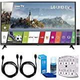 LG 65UJ6300-65 Super UHD 4K HDR Smart LED TV (2017 Model) w/Accessories Bundle Includes, SurgePro 6-Outlet Surge Adapter with Night Light, 2 x 6ft. HDMI Cable & Screen Cleaner For LED TVs
