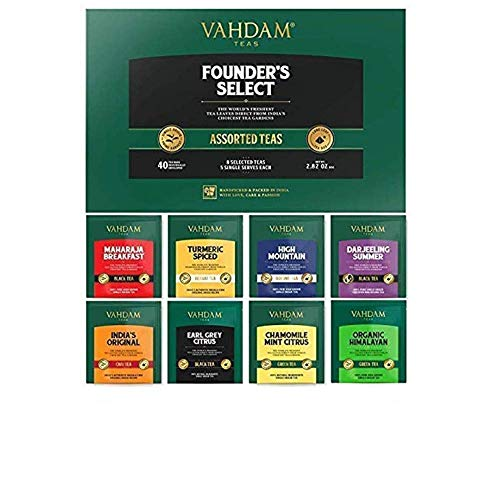 VAHDAM, Assorted Tea Bags Sampler | 8 Tea Flavors, 40 Tea Bags | Best Gift Set | Award Winning Black, Green, Oolong, Herbal Tea Bags | Brew Iced Tea or Hot | Tea Variety Pack & Gift Set