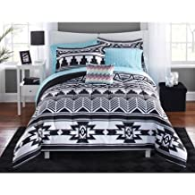 8 Piece Tribal Black and White Bed in a Bag Bedding Set, King Size includes: 1 Comforter, 1 Fitted Sheet, 1 Flat Sheet, 2 Standard/King Shams, 2 Standard/King Pillow cases, 1 Decorative Pillow
